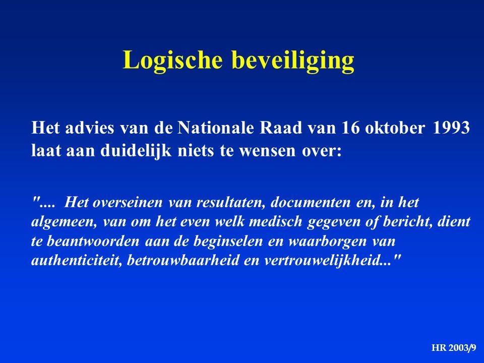 HR 2003/9 Logische beveiliging Het advies van de Nationale Raad van 16 oktober 1993 laat aan duidelijk niets te wensen over: