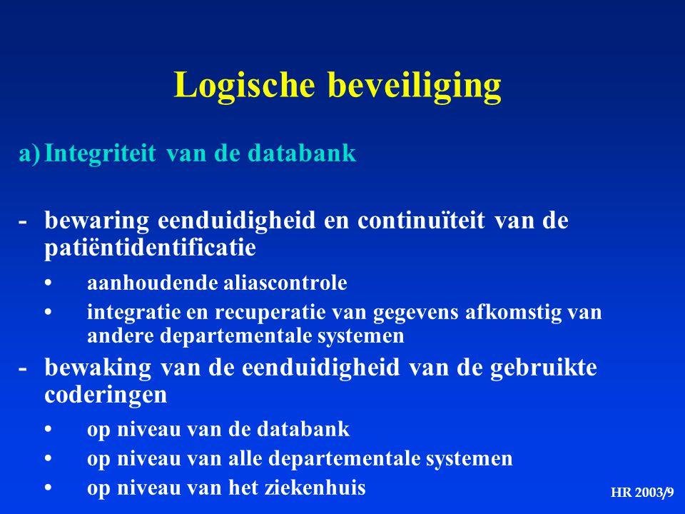 HR 2003/9 Logische beveiliging a)Integriteit van de databank -bewaring eenduidigheid en continuïteit van de patiëntidentificatie aanhoudende aliascont