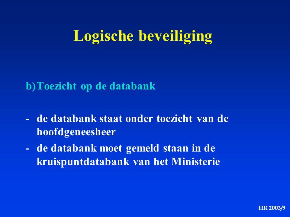 HR 2003/9 Logische beveiliging b)Toezicht op de databank -de databank staat onder toezicht van de hoofdgeneesheer -de databank moet gemeld staan in de