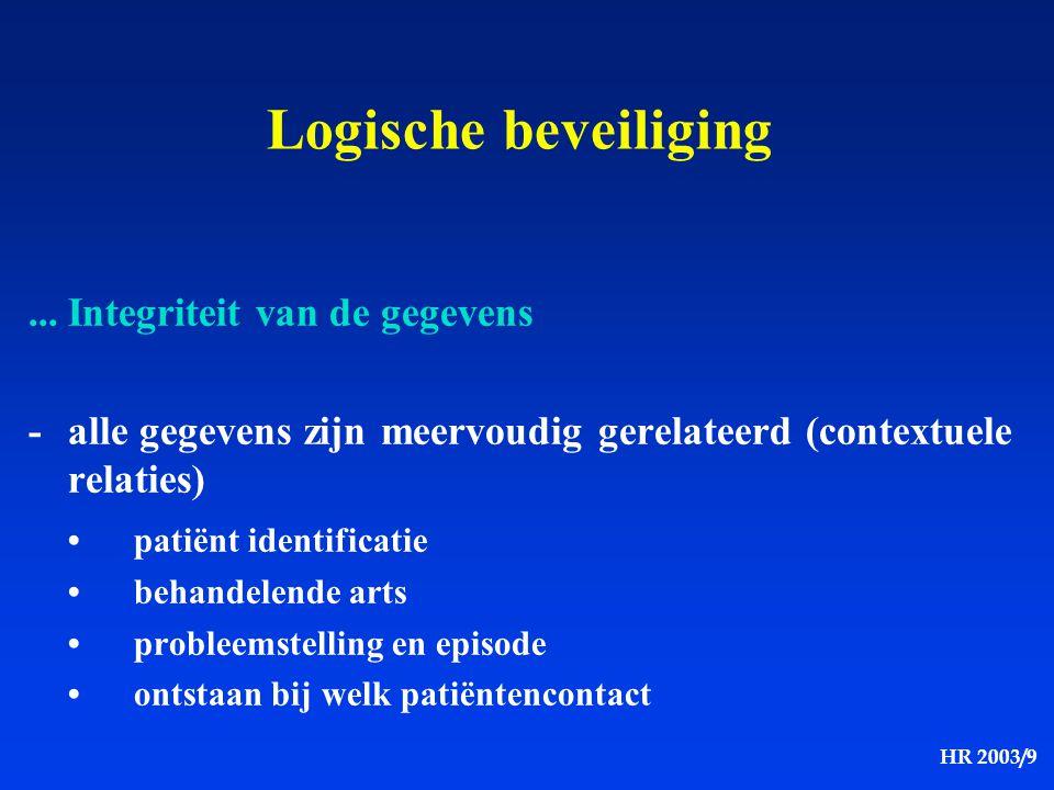 HR 2003/9 Logische beveiliging...Integriteit van de gegevens -alle gegevens zijn meervoudig gerelateerd (contextuele relaties) patiënt identificatie b