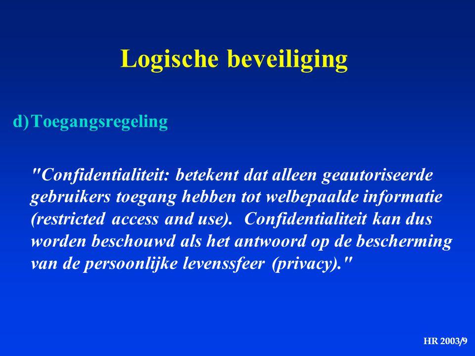 HR 2003/9 Logische beveiliging d)Toegangsregeling
