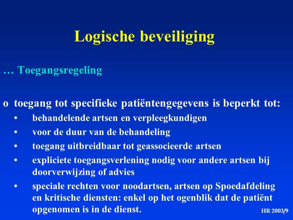 HR 2003/9 Logische beveiliging … Toegangsregeling otoegang tot specifieke patiëntengegevens is beperkt tot: behandelende artsen en verpleegkundigen vo