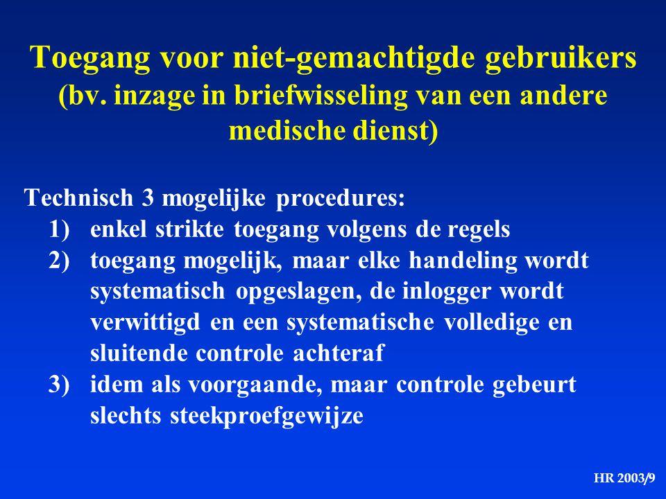 HR 2003/9 Toegang voor niet-gemachtigde gebruikers (bv. inzage in briefwisseling van een andere medische dienst) Technisch 3 mogelijke procedures: 1)e