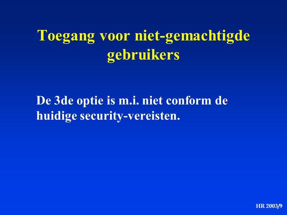 HR 2003/9 Toegang voor niet-gemachtigde gebruikers De 3de optie is m.i. niet conform de huidige security-vereisten.
