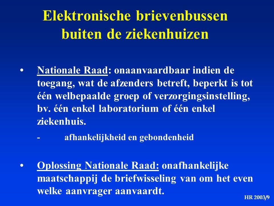 HR 2003/9 Elektronische brievenbussen buiten de ziekenhuizen Nationale Raad: onaanvaardbaar indien de toegang, wat de afzenders betreft, beperkt is to