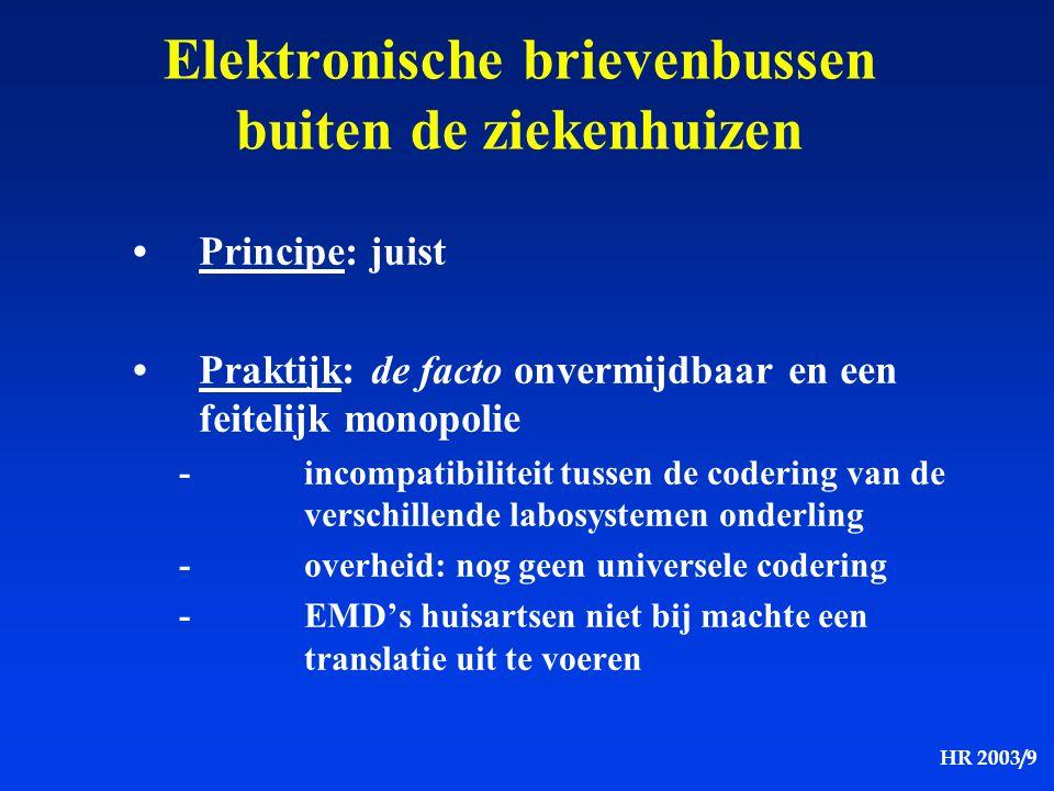 HR 2003/9 Elektronische brievenbussen buiten de ziekenhuizen Principe: juist Praktijk: de facto onvermijdbaar en een feitelijk monopolie -incompatibil