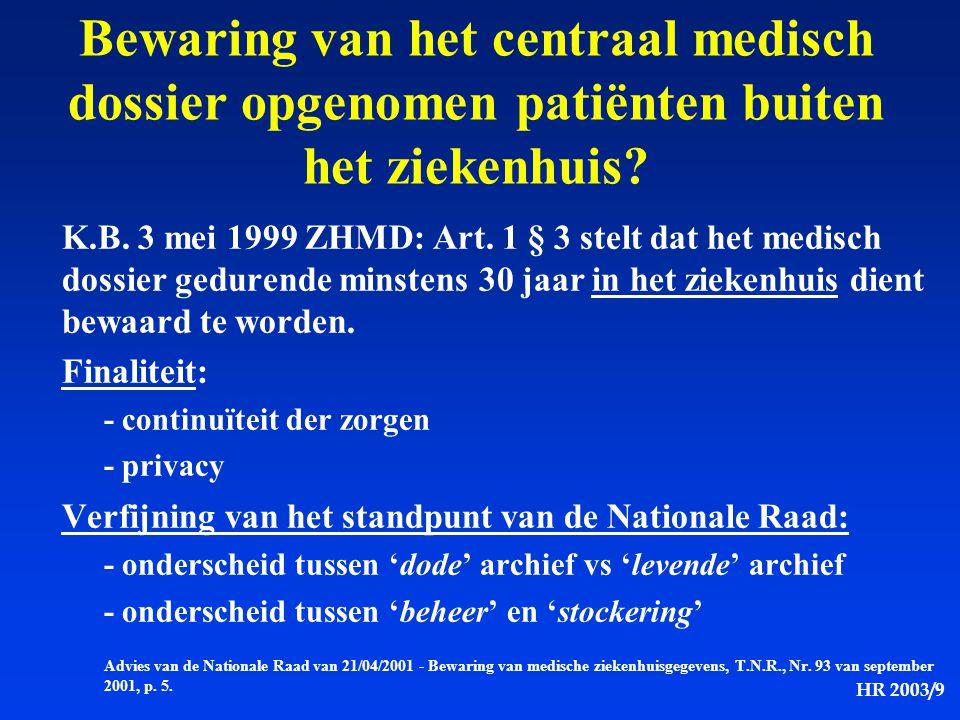 HR 2003/9 Bewaring van het centraal medisch dossier opgenomen patiënten buiten het ziekenhuis? K.B. 3 mei 1999 ZHMD: Art. 1 § 3 stelt dat het medisch