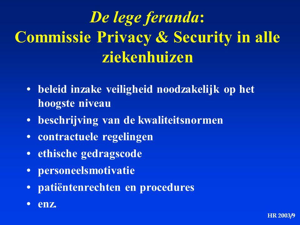HR 2003/9 De lege feranda: Commissie Privacy & Security in alle ziekenhuizen beleid inzake veiligheid noodzakelijk op het hoogste niveau beschrijving