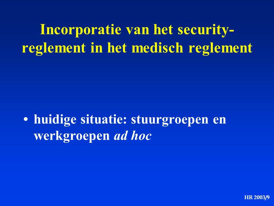 HR 2003/9 huidige situatie: stuurgroepen en werkgroepen ad hoc Incorporatie van het security- reglement in het medisch reglement