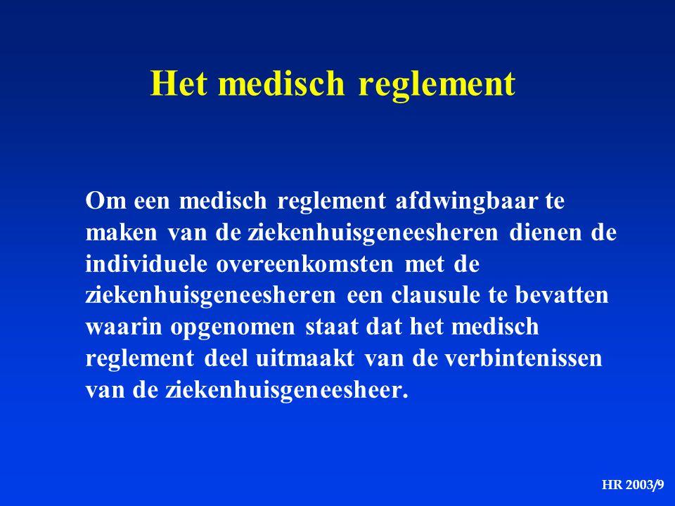 HR 2003/9 Het medisch reglement Om een medisch reglement afdwingbaar te maken van de ziekenhuisgeneesheren dienen de individuele overeenkomsten met de