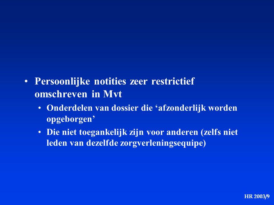 HR 2003/9 Elektronische transmissie van medische gegevens buiten de ziekenhuizen