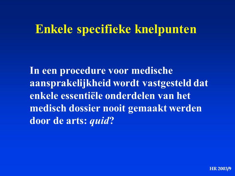 HR 2003/9 Enkele specifieke knelpunten In een procedure voor medische aansprakelijkheid wordt vastgesteld dat enkele essentiële onderdelen van het med
