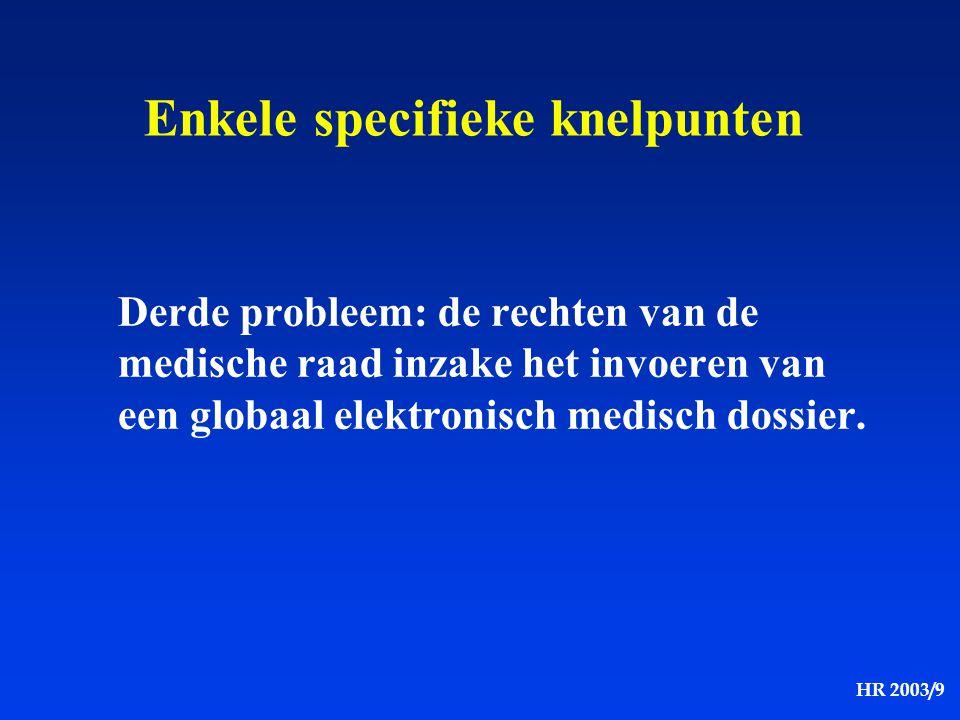HR 2003/9 Derde probleem: de rechten van de medische raad inzake het invoeren van een globaal elektronisch medisch dossier. Enkele specifieke knelpunt