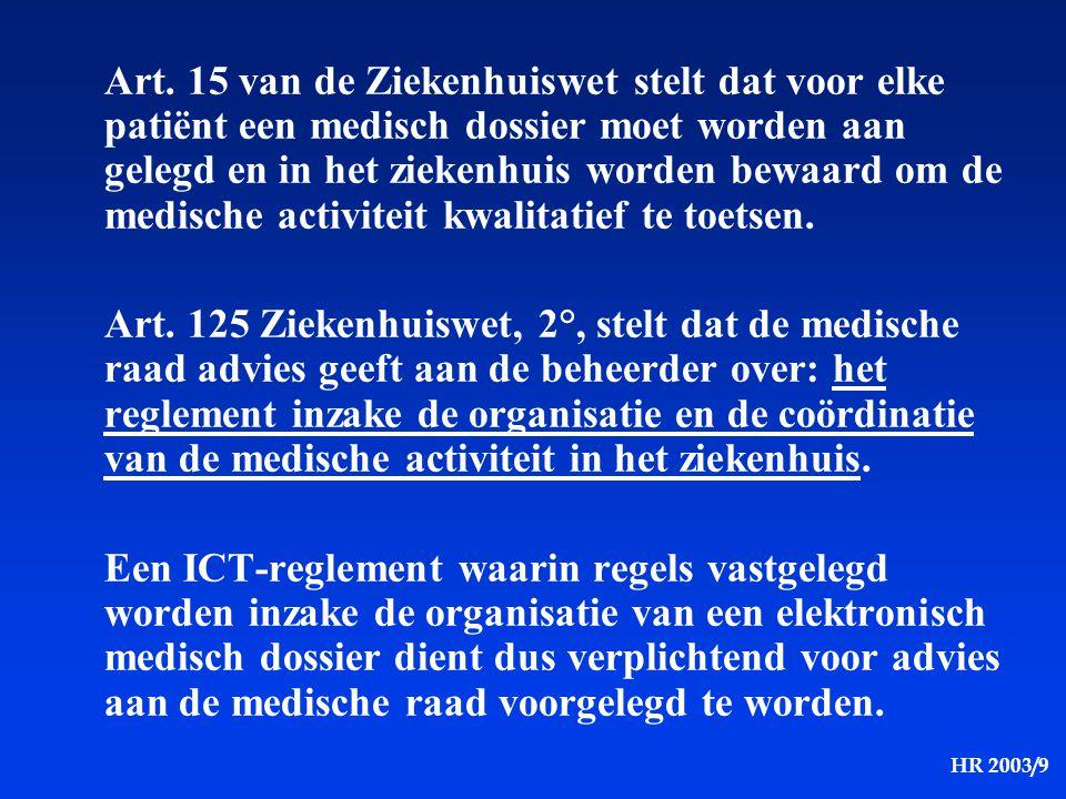 HR 2003/9 Art. 15 van de Ziekenhuiswet stelt dat voor elke patiënt een medisch dossier moet worden aan gelegd en in het ziekenhuis worden bewaard om d