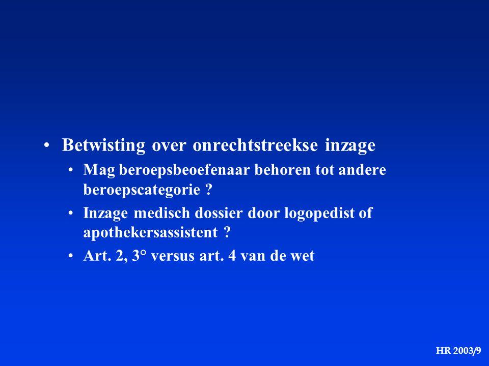 HR 2003/9 Betwisting over onrechtstreekse inzage Mag beroepsbeoefenaar behoren tot andere beroepscategorie ? Inzage medisch dossier door logopedist of