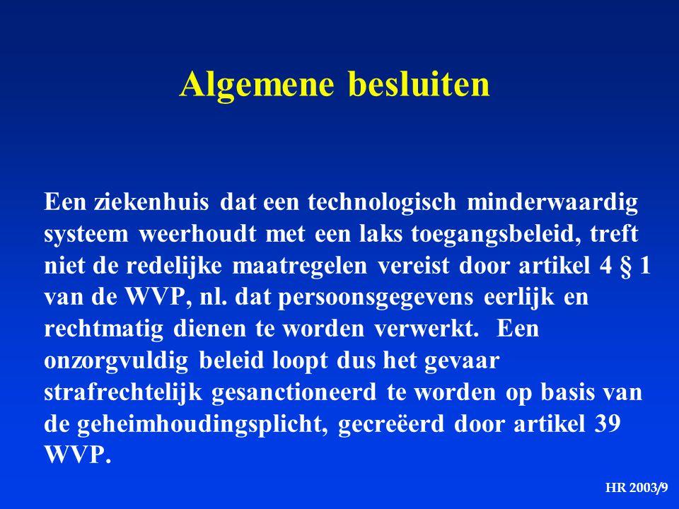 HR 2003/9 Algemene besluiten Een ziekenhuis dat een technologisch minderwaardig systeem weerhoudt met een laks toegangsbeleid, treft niet de redelijke