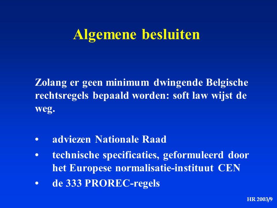 HR 2003/9 Algemene besluiten Zolang er geen minimum dwingende Belgische rechtsregels bepaald worden: soft law wijst de weg. adviezen Nationale Raad te