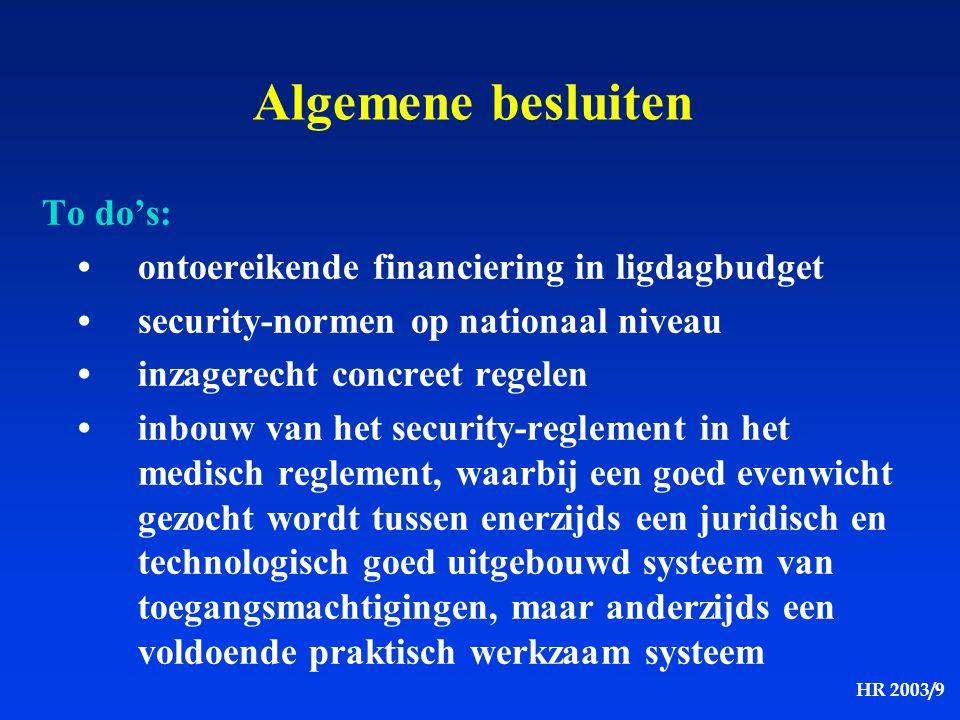 HR 2003/9 Algemene besluiten To do's: ontoereikende financiering in ligdagbudget security-normen op nationaal niveau inzagerecht concreet regelen inbo