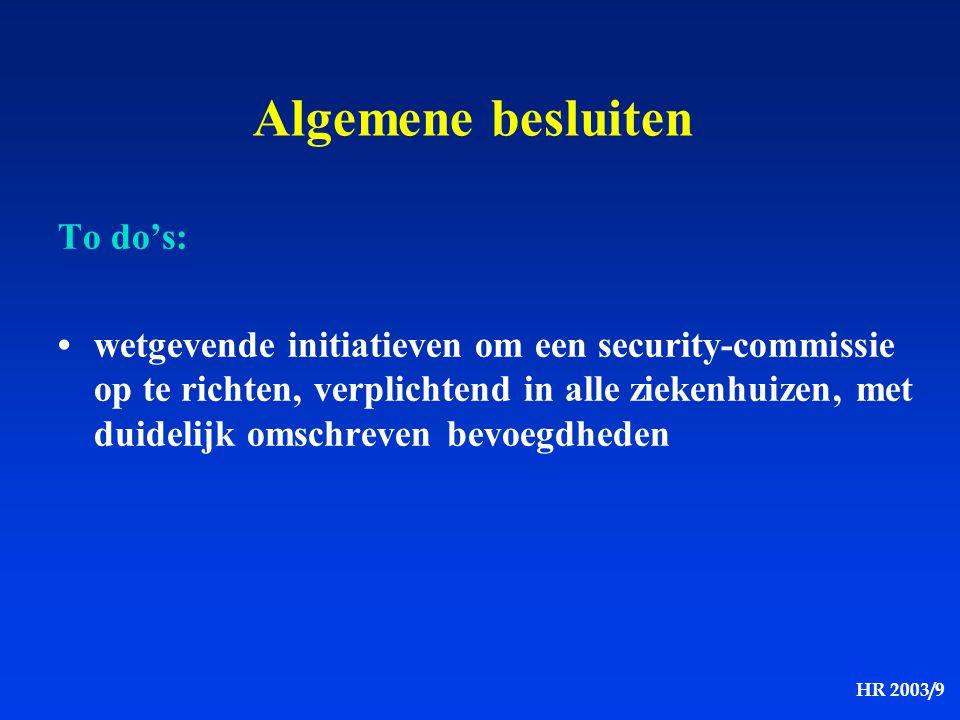 HR 2003/9 Algemene besluiten To do's: wetgevende initiatieven om een security-commissie op te richten, verplichtend in alle ziekenhuizen, met duidelij