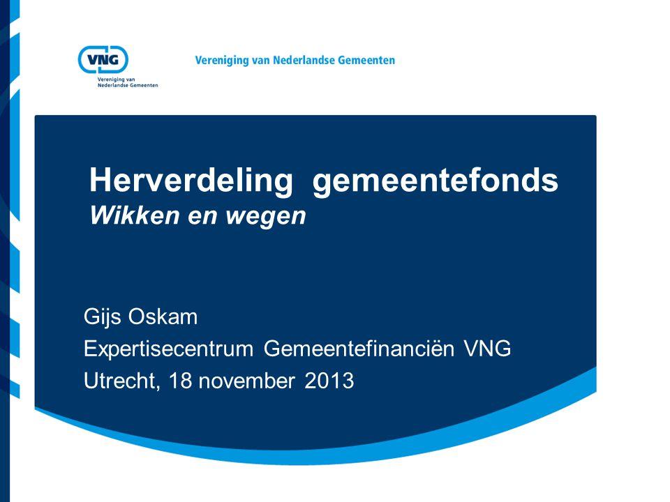 Vereniging van Nederlandse Gemeenten Programma Inkomsten van gemeenten Terugblik op de herverdeling 1997 en 2001 Voorgenomen herverdeling 2013 (afgeblazen) Voorgenomen herverdeling 2015 Vragen en opmerkingen, discussie