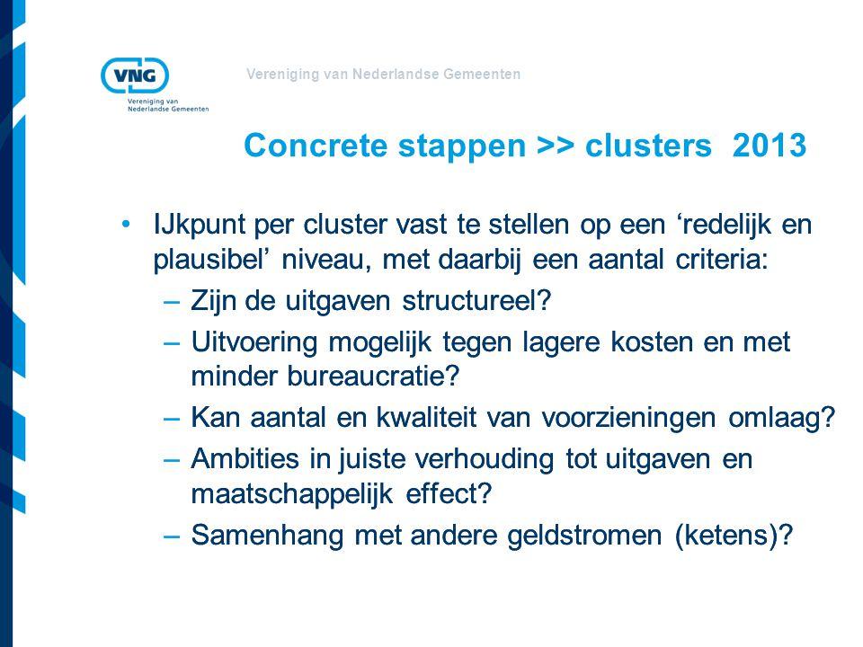Vereniging van Nederlandse Gemeenten Concrete stappen >> clusters 2013 IJkpunt per cluster vast te stellen op een 'redelijk en plausibel' niveau, met daarbij een aantal criteria: –Zijn de uitgaven structureel.