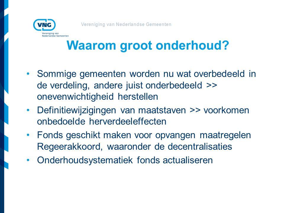 Vereniging van Nederlandse Gemeenten Enkele concrete voornemens Aanpassen ijkpunten Beperken aantal clusters (van 17 naar 11) Vaststellen omvang van clusters Aanpassing vaste bedragen G4.