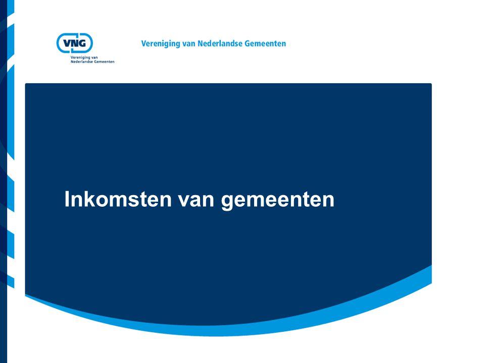Vereniging van Nederlandse Gemeenten Inkomsten van gemeenten Eigen inkomsten –Belastingen –Rechten –Overige eigen inkomsten (rente, dividend etc.) Specifieke uitkeringen Gemeentefonds –Algemene uitkering –Decentralisatie- en integratieuitkeringen