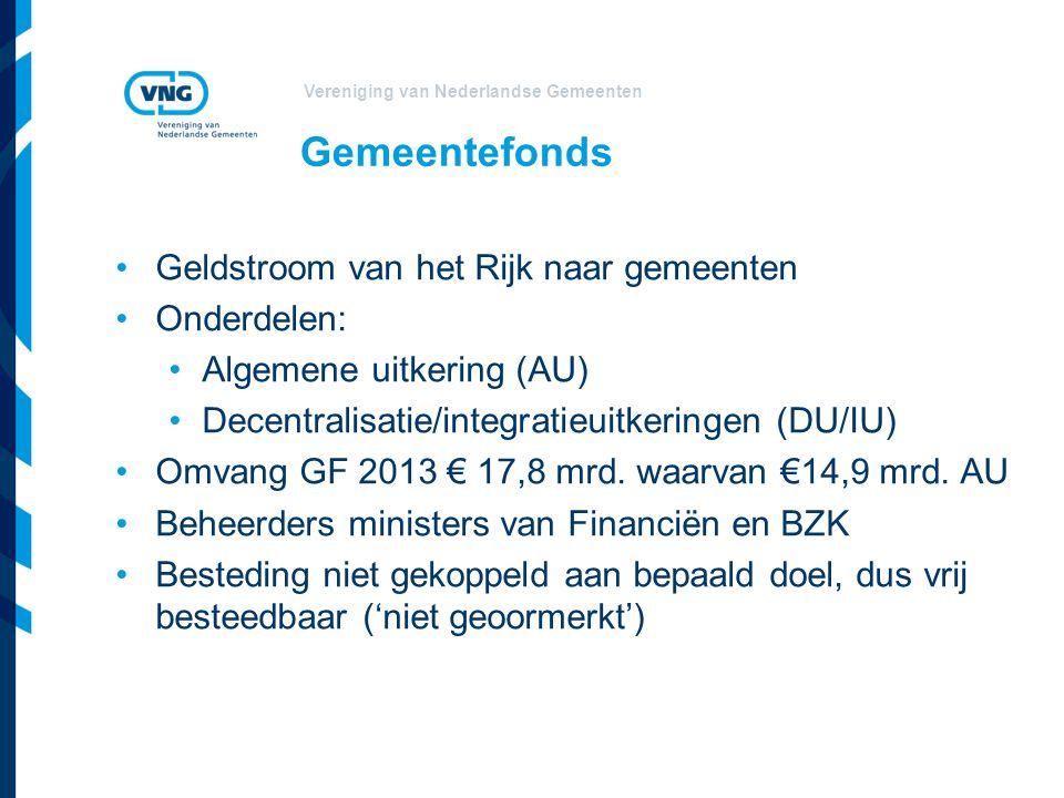 Vereniging van Nederlandse Gemeenten Karakter DU en IU ' Decentralisatie- en Integratieuitkeringen: –Lijken op specifieke uitkeringen, in het gemeentefonds herkenbaar (bijv.