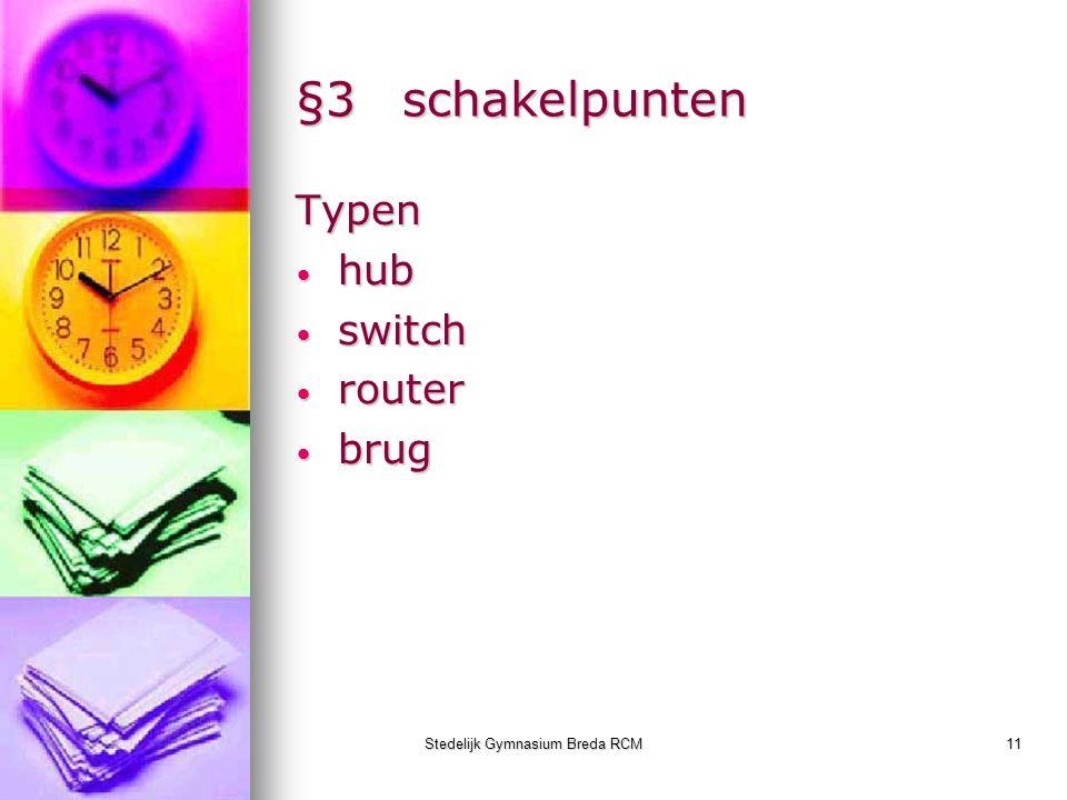 Stedelijk Gymnasium Breda RCM11 §3schakelpunten Typen hub hub switch switch router router brug brug