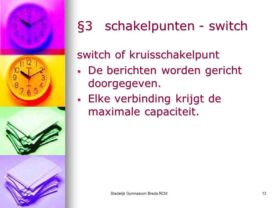 Stedelijk Gymnasium Breda RCM13 §3schakelpunten - switch switch of kruisschakelpunt De berichten worden gericht doorgegeven. De berichten worden geric