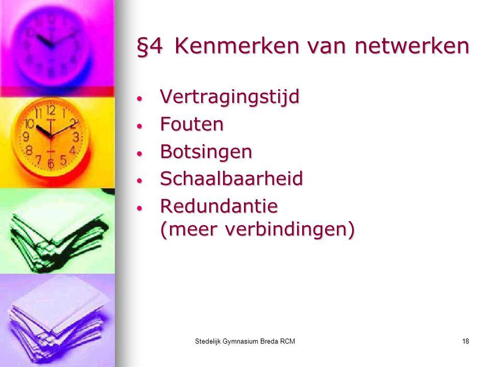 Stedelijk Gymnasium Breda RCM18 §4Kenmerken van netwerken Vertragingstijd Vertragingstijd Fouten Fouten Botsingen Botsingen Schaalbaarheid Schaalbaarh
