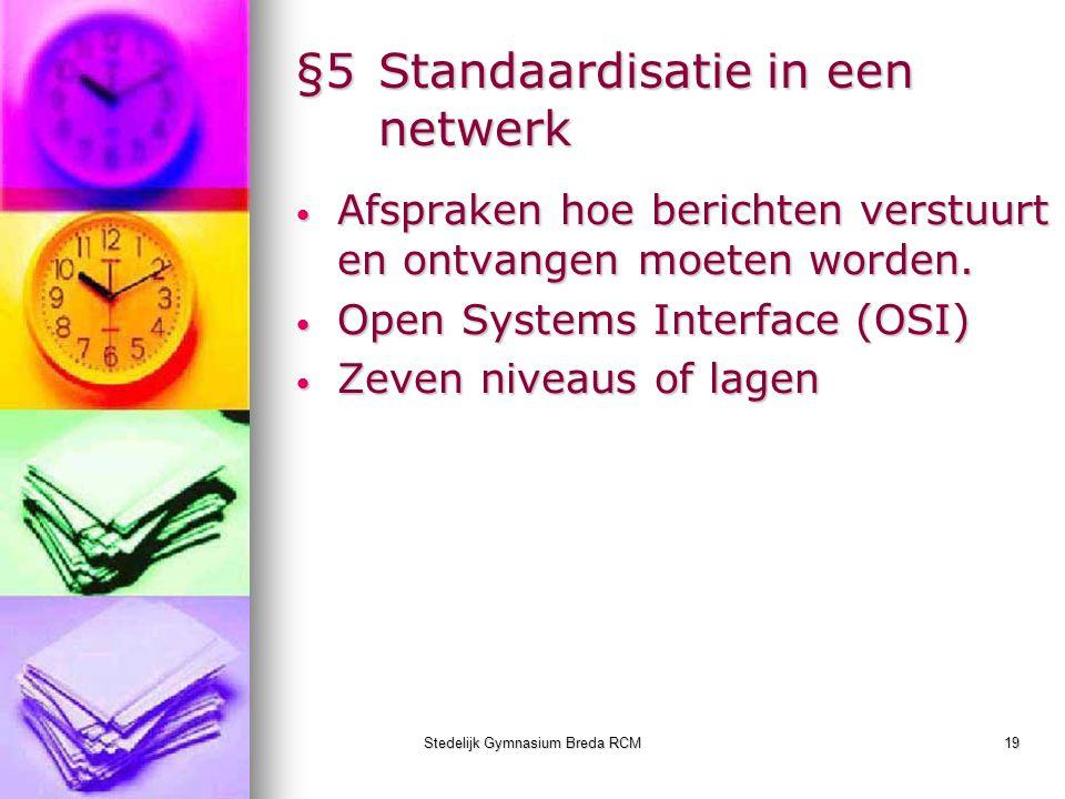 Stedelijk Gymnasium Breda RCM19 §5Standaardisatie in een netwerk Afspraken hoe berichten verstuurt en ontvangen moeten worden. Afspraken hoe berichten