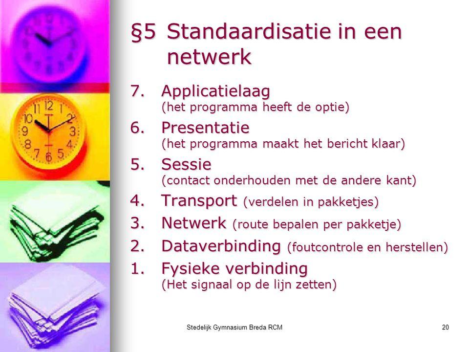 Stedelijk Gymnasium Breda RCM20 §5Standaardisatie in een netwerk 7.Applicatielaag (het programma heeft de optie) 6.Presentatie (het programma maakt he
