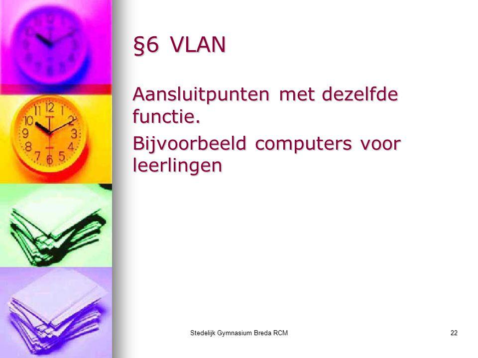Stedelijk Gymnasium Breda RCM22 §6VLAN Aansluitpunten met dezelfde functie. Bijvoorbeeld computers voor leerlingen