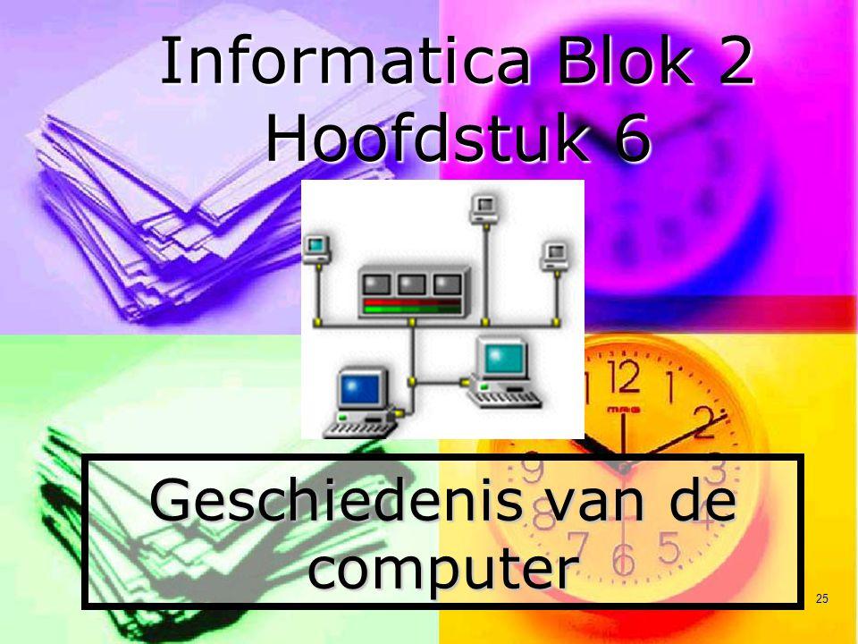 25 Geschiedenis van de computer Informatica Blok 2 Hoofdstuk 6