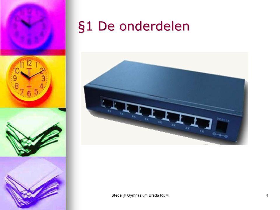 Stedelijk Gymnasium Breda RCM5 §1Berichten versturen Unicast naar één adres Unicast naar één adres Multicast naar meerdere adressen Multicast naar meerdere adressen Broadcast naar alle adressen Broadcast naar alle adressen