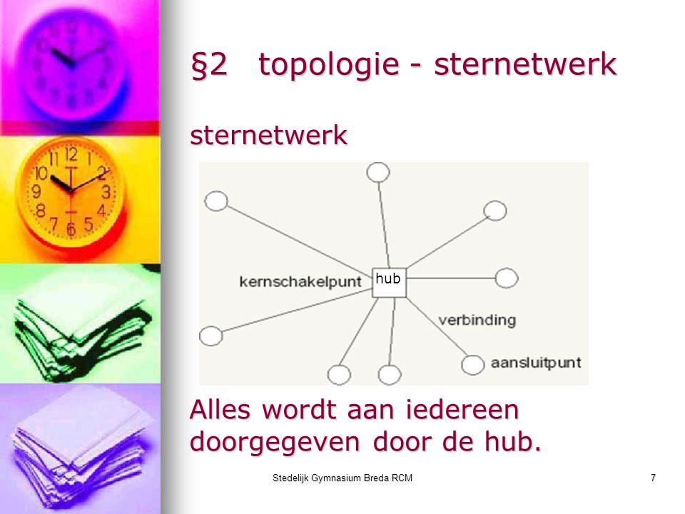 Stedelijk Gymnasium Breda RCM7 §2topologie - sternetwerk sternetwerk hub Alles wordt aan iedereen doorgegeven door de hub.
