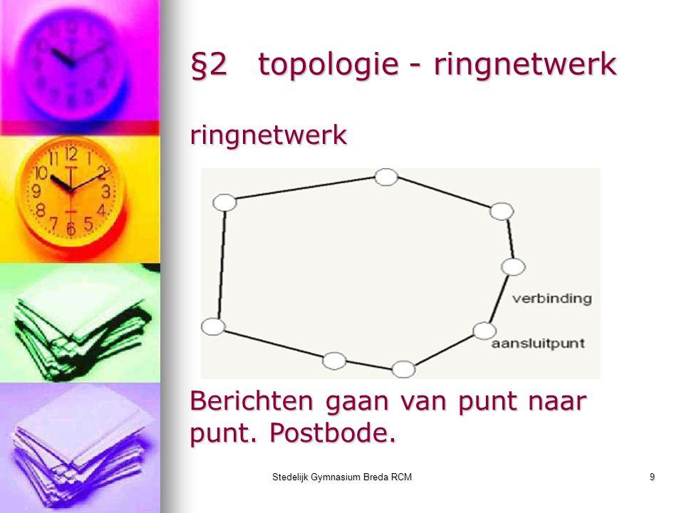 Stedelijk Gymnasium Breda RCM9 §2topologie - ringnetwerk ringnetwerk Berichten gaan van punt naar punt. Postbode.