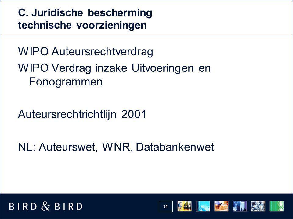 14 C. Juridische bescherming technische voorzieningen WIPO Auteursrechtverdrag WIPO Verdrag inzake Uitvoeringen en Fonogrammen Auteursrechtrichtlijn 2