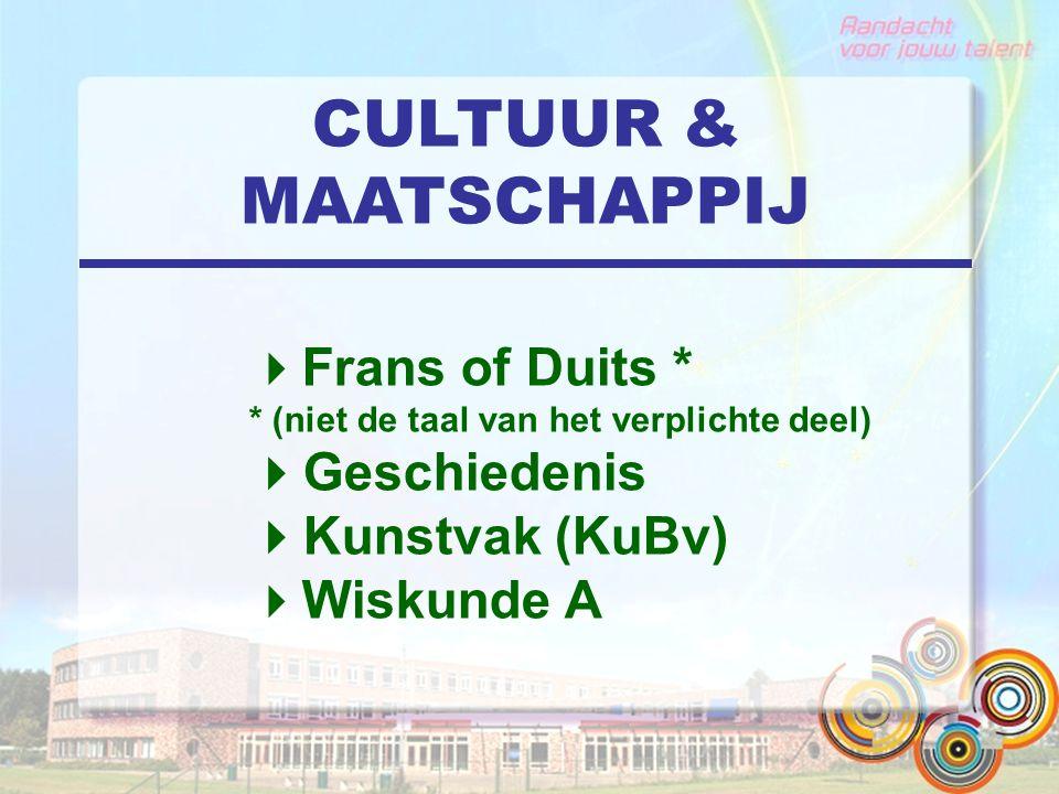 CULTUUR & MAATSCHAPPIJ  Frans of Duits * * (niet de taal van het verplichte deel)  Geschiedenis  Kunstvak (KuBv)  Wiskunde A