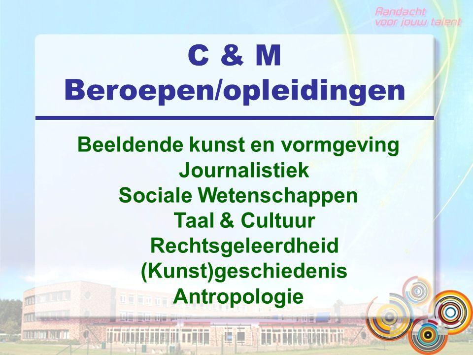C & M Beroepen/opleidingen Beeldende kunst en vormgeving Journalistiek Sociale Wetenschappen Taal & Cultuur Rechtsgeleerdheid (Kunst)geschiedenis Antr