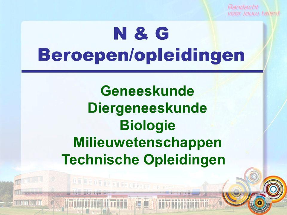 N & G Beroepen/opleidingen Geneeskunde Diergeneeskunde Biologie Milieuwetenschappen Technische Opleidingen