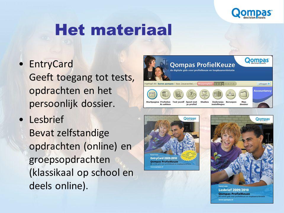 Het materiaal EntryCard Geeft toegang tot tests, opdrachten en het persoonlijk dossier. Lesbrief Bevat zelfstandige opdrachten (online) en groepsopdra