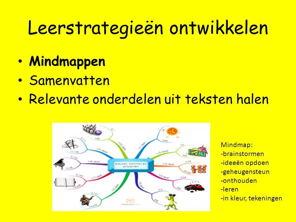 Leerstrategieën ontwikkelen Mindmappen Samenvatten Relevante onderdelen uit teksten halen Mindmap: -brainstormen -ideeën opdoen -geheugensteun -onthouden -leren -in kleur, tekeningen