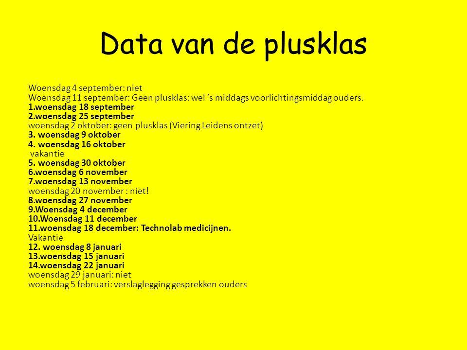 Data van de plusklas Woensdag 4 september: niet Woensdag 11 september: Geen plusklas: wel 's middags voorlichtingsmiddag ouders. 1.woensdag 18 septemb