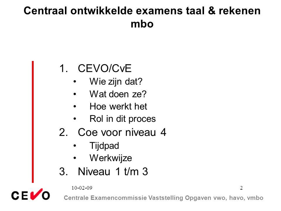 Centrale Examencommissie Vaststelling Opgaven vwo, havo, vmbo 10-02-09 2 Centraal ontwikkelde examens taal & rekenen mbo 1.CEVO/CvE Wie zijn dat? Wat