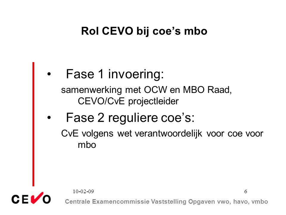 Centrale Examencommissie Vaststelling Opgaven vwo, havo, vmbo 10-02-09 6 Rol CEVO bij coe's mbo Fase 1 invoering: samenwerking met OCW en MBO Raad, CE