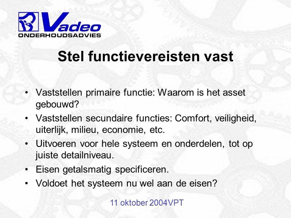 11 oktober 2004VPT Inventarisatie assets Gebouw Installaties Onderdelen, merk, type, aantallen