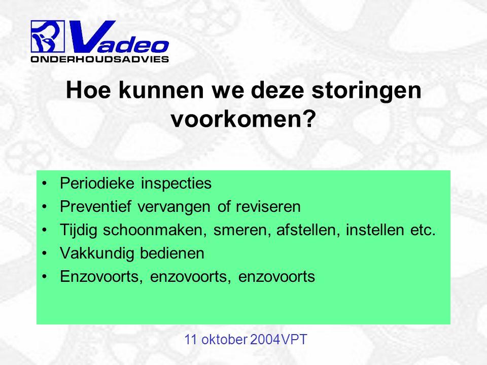 11 oktober 2004VPT Voorbeeld: elektromotor start niet Mogelijke oorzaken: Bedieningsfout Kapotte zekering Kapot lager Doorgebrande wikkeling Montagefout
