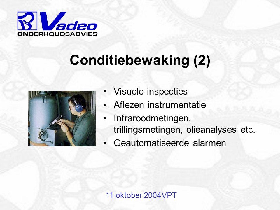 11 oktober 2004VPT Storingsvoorspellende grootheid: Temperatuur- of drukverandering Zichtbare slijtage Trillingen Afnemende prestaties Conditiebewaking (1)